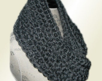 GRAY INFINITY SCARF Cowl Long Chunky Crochet Knit Bulky Vegan Yarn Charcoal Gift Idea Accessories Women Scarves