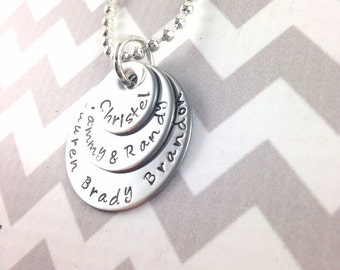 Stacked stainless steel mothers/grandmothers hand stamped necklace