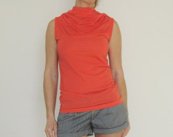 70s Vintage Coral Sleeveless Turtleneck High Neck Zips in the Back