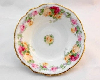 Thomas Bavaria Vintage China Bowls with Yellow and Pink Flowers-China Bowls-Berry Bowls- Vintage Bowls-Christmas Gift Idea - Christmas