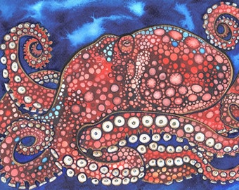Majestic OCTOPUS 8.5 x 11 print of watercolour painting in blood red sky blue gold bronze highlights nebula octopus magic bubbles kids fun
