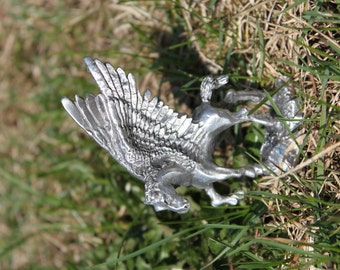Hand Made in Michigan Lead Free Pewter Pegasus Figurine statue Fine Pewter Fantasy mythical creature Free Shipping