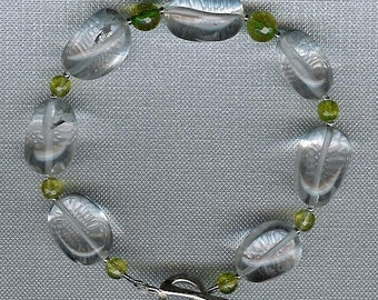 Bracelet - Rock Quartz, Green Quartz, Sterling Silver