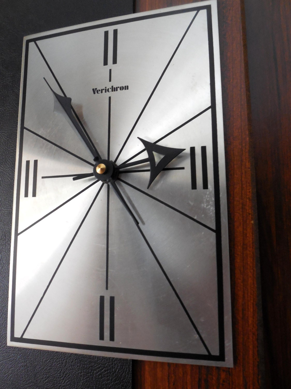 Mid Century Working Verichron Wall Clock 1970s Excellent