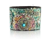 Turquoise Cuff, Vintage Sari, Turquoise, Leather Cuff,  Leather Bracelet, Fabric Cuff, Leather Cuff, Beaded Bracelet,
