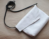 Medium White Genuine Leather  Women Crossbody Bag / Clutch / Satchel