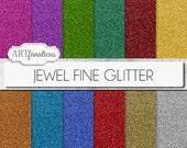 "Glitter digital papers ""JEWEL FINE GLITTER"" sparkling gem colors of red glitter, green glitter, gold glitter, orange glitter, blue glitter"