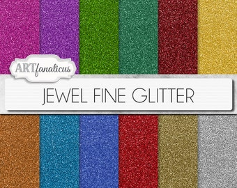 "Glitter digital papers ""JEWEL FINE GLITTER"" sparkling gem colors of red glitter, green glitter, gold glitter, orange glitter, blue glitter"