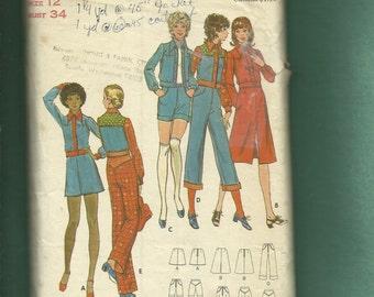 1970's Butterick 6509 Western Disco Jacket Pants & Skirts  Size 12