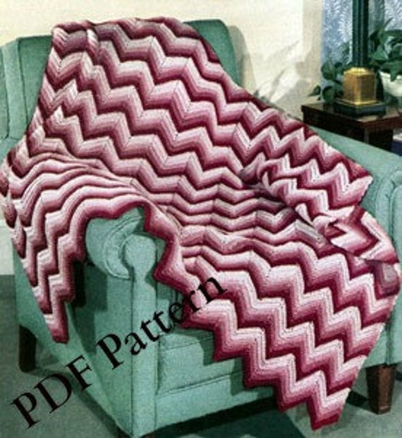 Crochet Chevron Afghan Classic Pattern Vintage 1948 Instant Digital Download