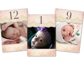 Christening Double sided Photo Table Numbers