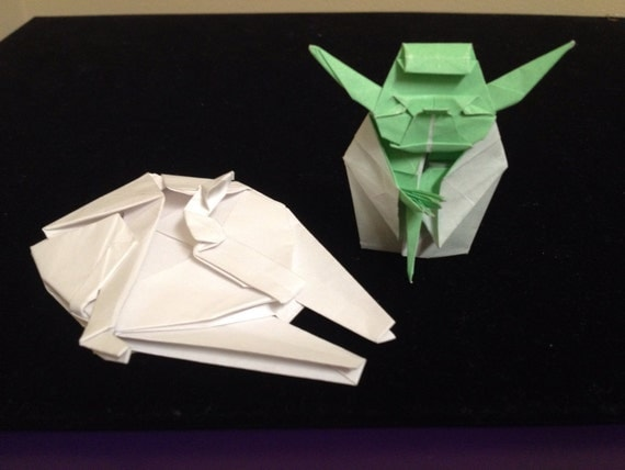 Origami Yoda & Millennium Falcon Combo by PaperLotusGallery - photo#24