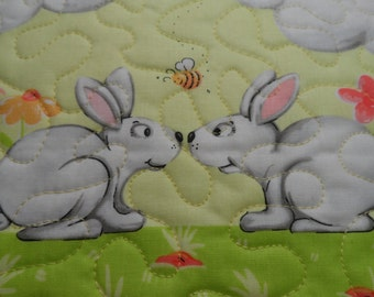 Green & Coral Adorable Kissing Bunny Spring Mini Quilt Pot Holder or Placemat