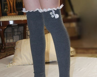 Over The Knee Socks Gray  Rib Knit  Socks with Embroidery Lace and  Buttons Women Boot Socks