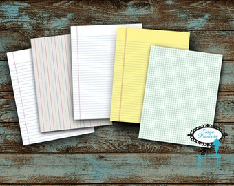 Lined Paper Printables - Instant Download - College Ruled, Wide Ruled, Graphing, Legal, And Kindergarten Handwriting Paper