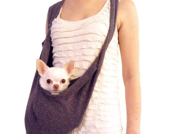 Small Dog Carrier in Heathered Dark Grey the Knitted Upright Sling