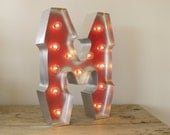 Letter M with SILVER edging and  Holywood Lights: Carnival Letters Light Up Letter Lamp and Marquee Letter Sign