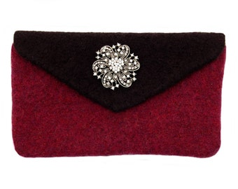 "Raspberry and Black Felted Clutch - Felted clutch complete with a removable rhinestone brooch and a removable 42"" chain"