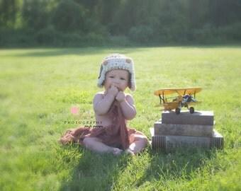 Baby Aviator Photo Prop Hat. Crochet Pilot Baby Hat.