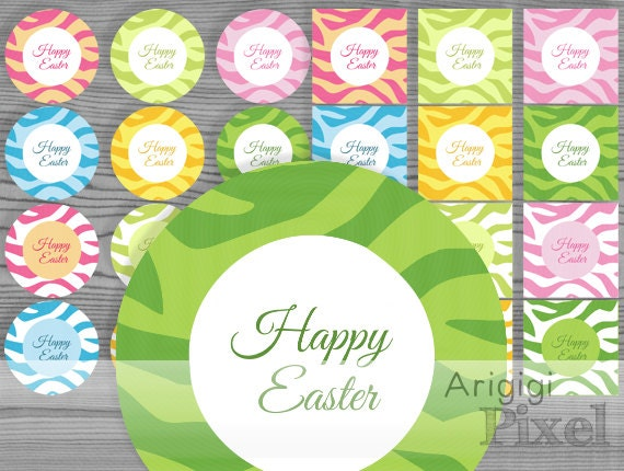 Zebra Pattern Colorful Tags - circles - squares - 2.5 inch - Spring colors - Happy Easter Printables - blank tags