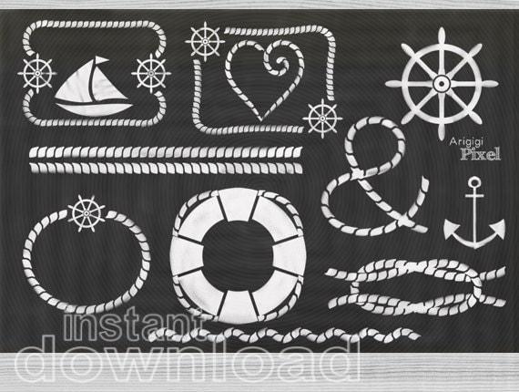 nautical clip art, nautical clipart set of 12, white frame chalkboard PNG, digital, scrapbooking download, small commercial use