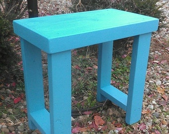 Beautiful Primitive Light Weight Mountain BLUE Framed Bench Fish Tank Stand  Play End Hall Table 14x24x24h