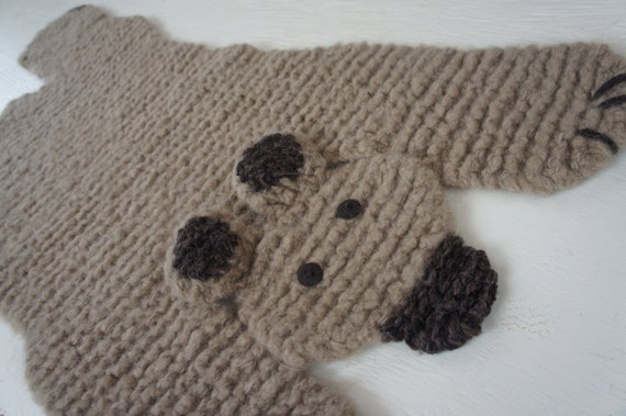 Bear Rug Knitting Pattern : Hand knit inch beige brown bear by wolverineknits on etsy