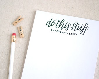 Hand lettered recycled notepad, to do list / Do this stuff / Christmas gift for husband, wife, best friend, girl friend, roommate