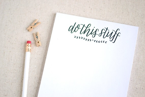 Hand lettered recycled notepad, to do list / Back to school / Do this stuff / Graduation gift