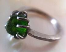 14kt white gold engagement ring green stone- rustic engagement ring raw chrome diopside green gem- rough gem ring-rustic engagement