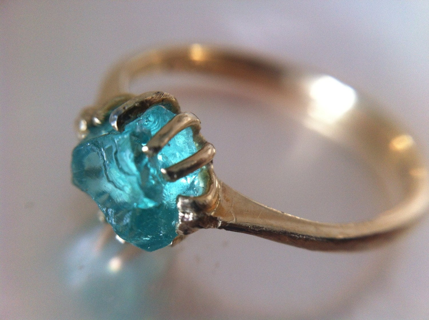 14kt Gold Rustic Aqua Rough Gem Engagement Ring Recycled