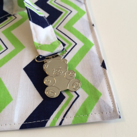 Gift Set: Diaper Wallet and Binkie Clip - Blue Green Chevron