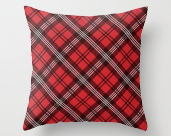 Red Plaid Pillowcase, Tartan Throw Pillow Cover, Scottish Plaid Pattern