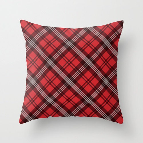 Red Plaid Throw Pillow Cover : Red Plaid Pillow WITH Insert Red Pillow Cover Red Throw