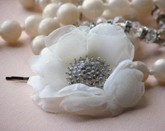 Ivory Hair Flower Bridal Ivory Hair Flower Ivory Headpiece Ivory Flower Clip Ivory Hair Clip Ivory Bridesmaids Flowers Rhinestone Hair Clip