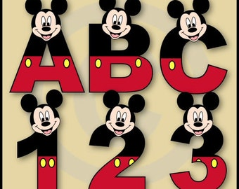 Mickey 2 Alphabet & Numbers Clipart Set