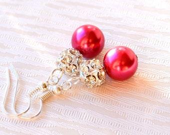 Dark pink Bridesmaids earrings with rhinestones Bridesmaids gift Pink wedding party Pink earrings Flower Girl Gift