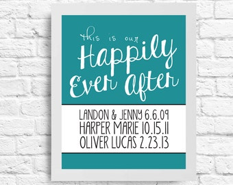Personalized Marriage and Children Inspirational Quote -Anniversary Gift- This is our Happily Ever After- Wall Art - Customizable