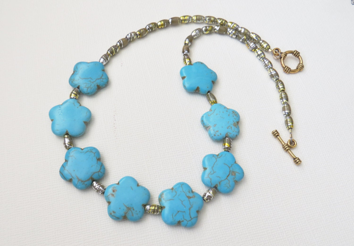 chunky turquoise necklaceturquoise magnasite necklace aqua