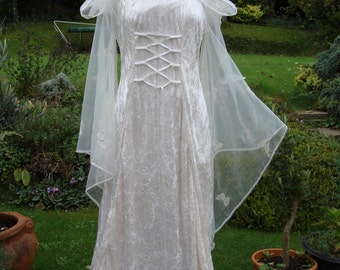 Hooded Ivory fairy medieval renaissance  pagan Handfasting celtic wedding gown / dress 8 TO 14