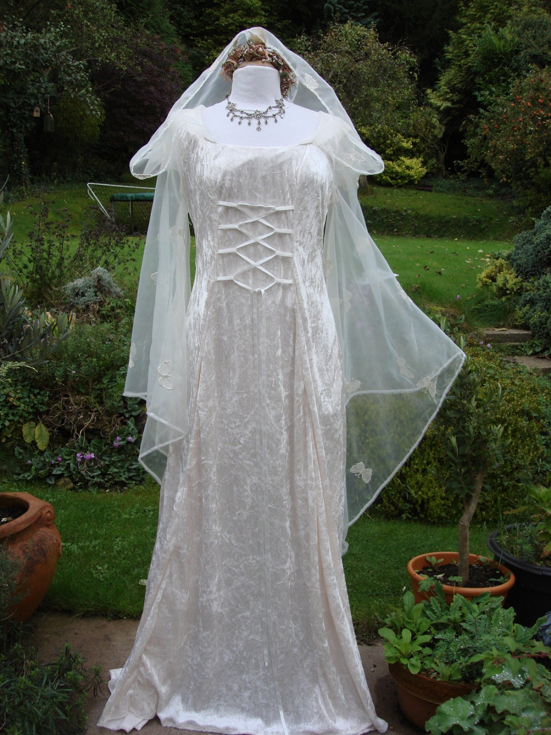 hooded ivory fairy medieval renaissance wiccan wedding dress zoom