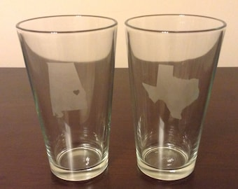 ON SALE: State Love Etched Pint Glasses (2)