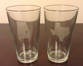 State Love Etched Pint Glasses (2)