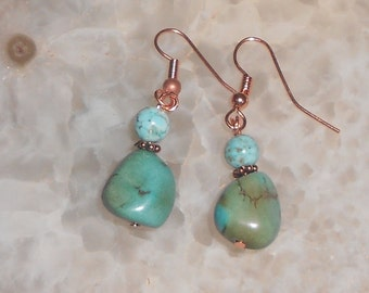 Handcrafted Turquoise Pierced Earrings