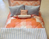 Peach Bliss Quilt and Sky Blue Bedding Set