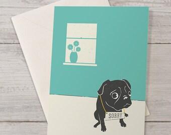Cute Pug Sorry Card