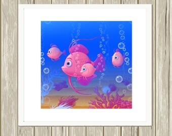 Nursery art, baby girl art, ocean theme nursery decor, baby girl nursery, nautical nursery, fish nursery, 8x8