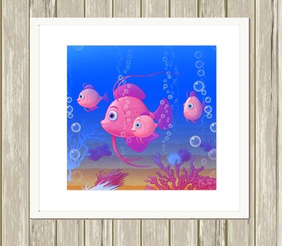 Nursery art baby girl art ocean theme nursery decor baby for Baby girl nursery paintings
