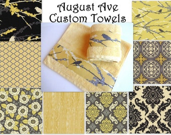 Yellow and Grey Towels, hand towels, towel sets, bath towels, gray and yellow, Joel Dewberry, custom towels, decorated towels, august ave