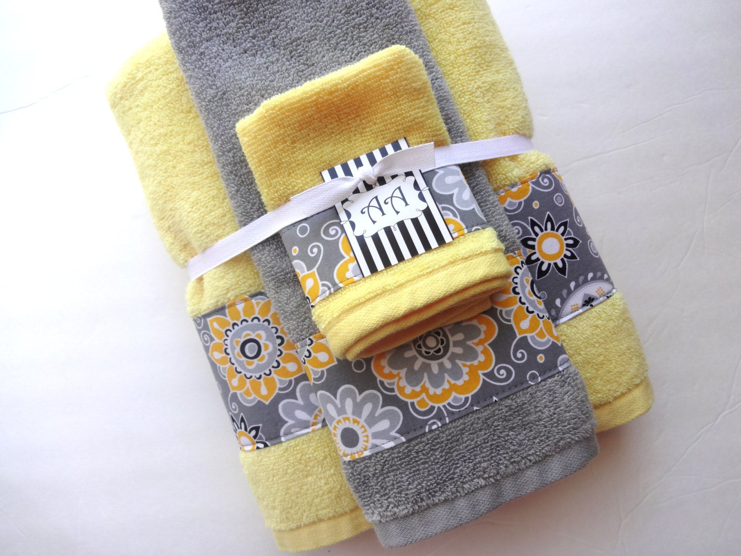 Set of 3 yellow grey bathroom towels hand towels bath by for Bathroom hand towels